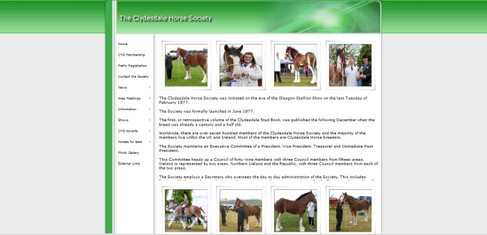 The Clydesdale Horse Society webpage