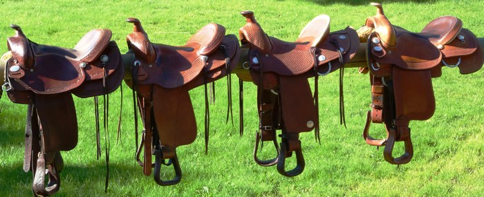 some western saddles at Little Big Ranch